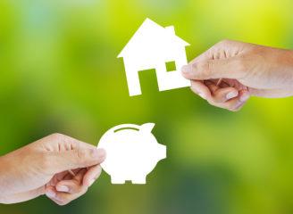 家と豚の貯金箱の紙絵