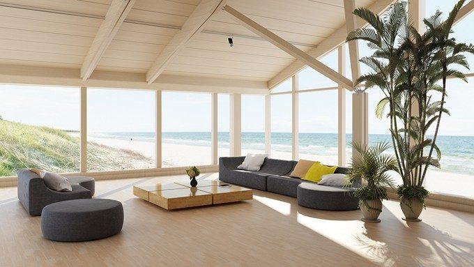 海辺の家と植物